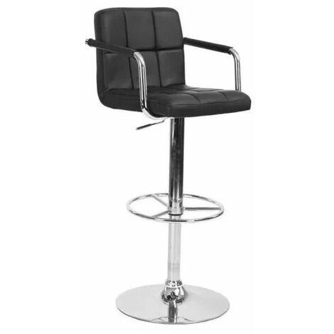 Tabouret de bar contemporain - Simili pu - Chaise de bar hauteur réglable - avec Accoudoirs, Noir