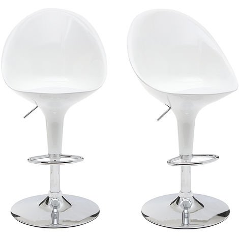 Tabouret de bar cuisine blanc design OEUF (lot de 2) 10213