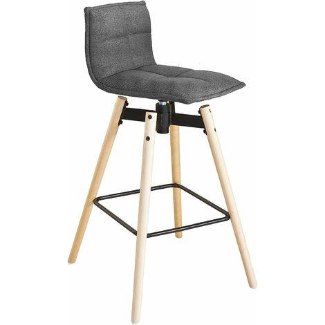 Tabouret de bar cuisine rotatif à 360° avec dossier et repose-pieds fauteuil bistrot haute qualité SoBuy® FST45-DG