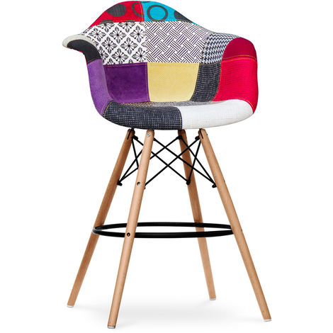 Tabouret de bar Dawick - Patchwork Ray Multicolore