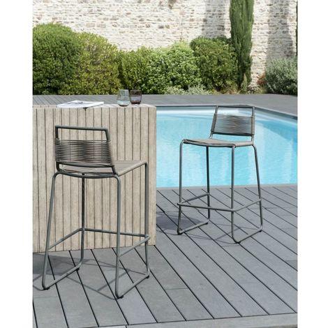 Tabouret de bar de jardin en métal et cordage synthétique - Marron