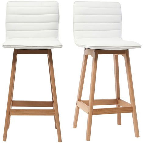 Tabouret de bar design bois 65 cm (lot de 2) EMMA