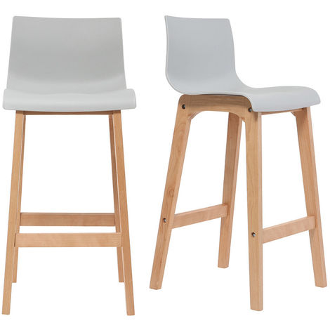 Tabouret de bar design bois 75 cm (lot de 2) NEW SURF