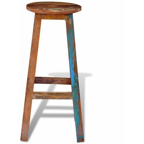 Tabouret de bar design chaise siège bois massif recyclé - Bois
