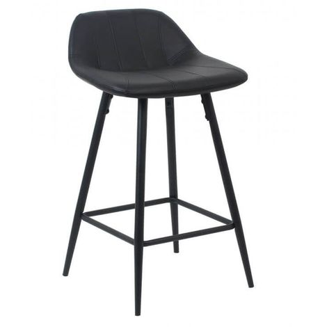 Tabouret de bar design en PU noir (lot de 2) Mattie II - Noir