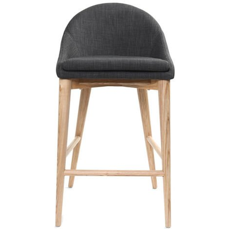 Tabouret de bar design en tissu gris anthracite et bois clair 65 cm DALIA