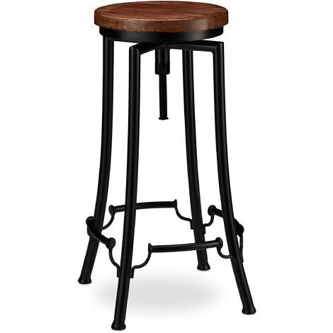 Tabouret de Bar, Design industriel, pivotant, Chaise haute ronde, Hauteur 77,5 cm max. fer bois, noir/marron