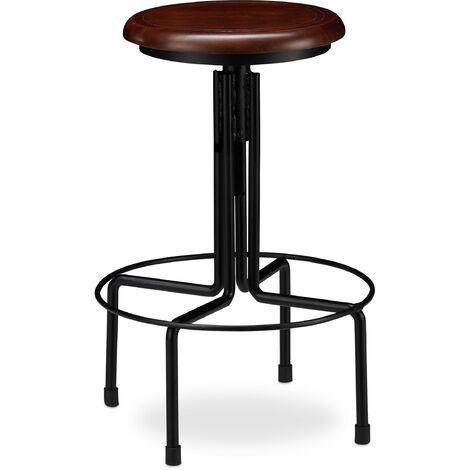 Tabouret de Bar, Design industriel, rond, Chaise haute ronde, Hauteur réglable jusqu'à 65 cm, noir/marron