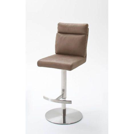 Tabouret de bar design métal chromé et PU Bea Marron clair - Marron clair, gris ou brun