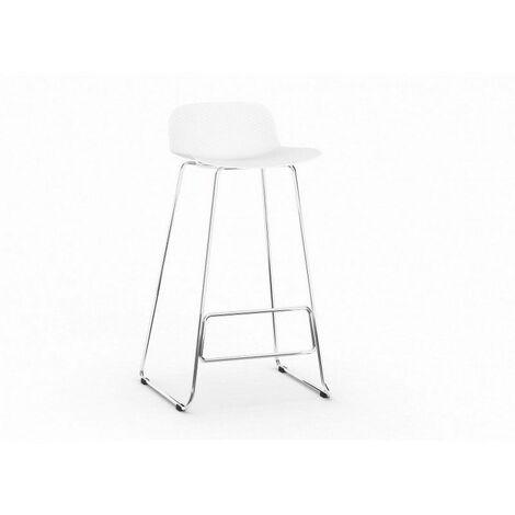 Tabouret de bar design métal et PVC (lot de 4) Cador Blanc - Blanc