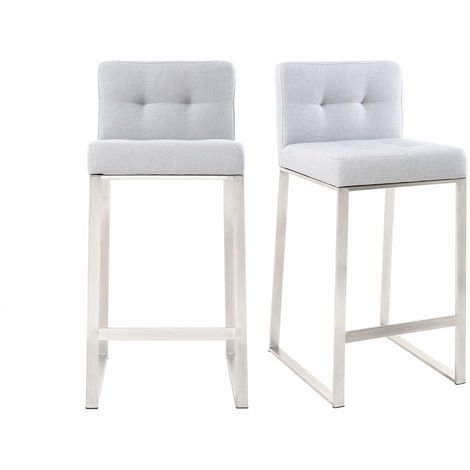 Tabouret de bar design métal tissu 66 cm (lot de 2) HALEY