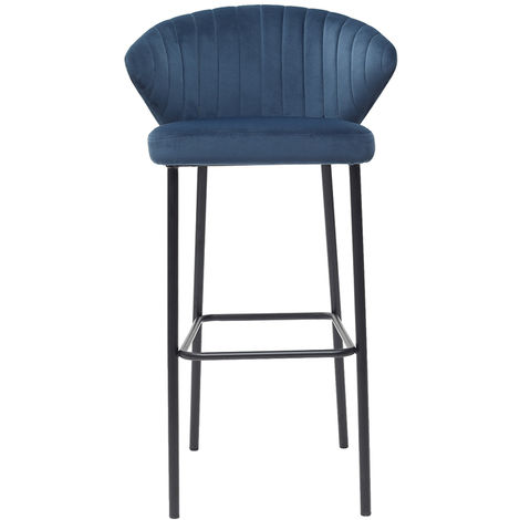 Tabouret de bar design velours 75cm DALLY