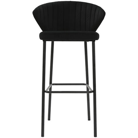 Tabouret de bar design velours 75cm DALLY - Noir velours