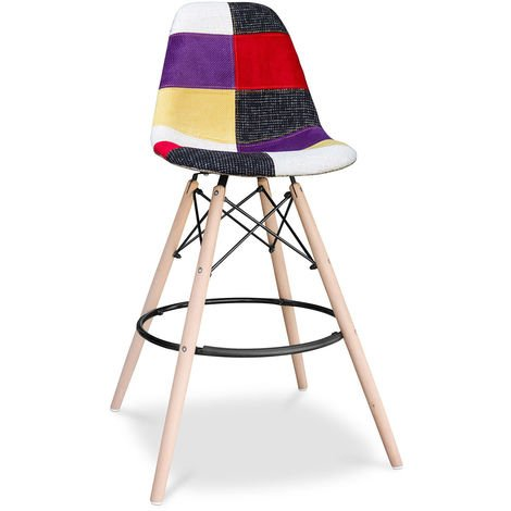 Tabouret de bar Deswick - Patchwork Tessa Multicolore