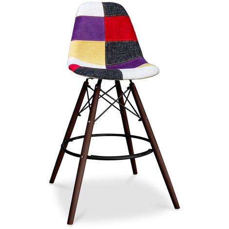 Tabouret de bar Deswick Piètement foncé - Patchwork Tessa Multicolore