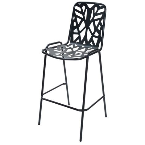 Tabouret de bar empilable RD ITALIA Fancy Leaf 75 - Anthracite - Extérieur - Empilable