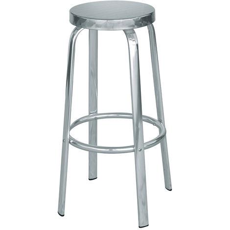 Tabouret de bar en aluminium et assise en acier- A USAGE PROFESSIONNEL - Dim : H 80 x P 50 x Ø 32 cm