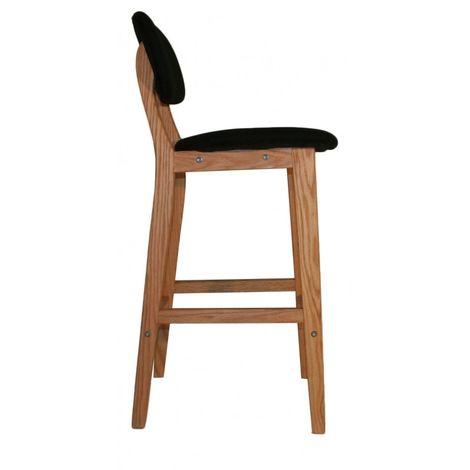 tabouret de bar en bois et assise en pu noir vals 66584106. Black Bedroom Furniture Sets. Home Design Ideas