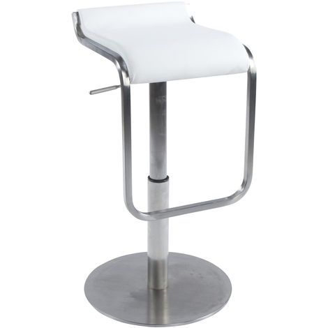Tabouret de bar en cuir régénéré Blanc - 42 x 44 x 83 cm - USAGE PROFESSIONNEL -PEGANE-