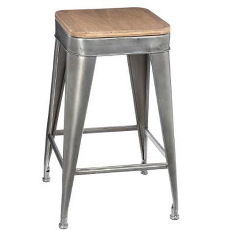 Tabouret de bar en métal coloris gris - Dim : L 38 x l 38 x H 59,9 cm