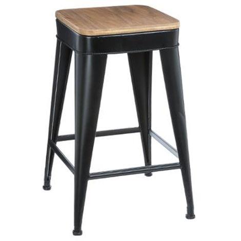 Tabouret de bar en métal et bois coloris noir - Dim : L 38 x l 38 x H 59,9 cm