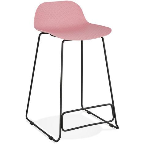 Tabouret de bar en plastique Rose/Noir - 49 x 53 x 85 cm - USAGE PROFESSIONNEL -PEGANE