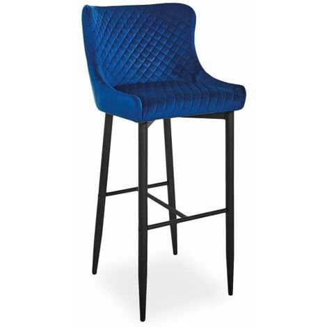 Tabouret de bar en velours - Colin - L 46 x P 42 x H 109 cm - Bleu - Livraison gratuite