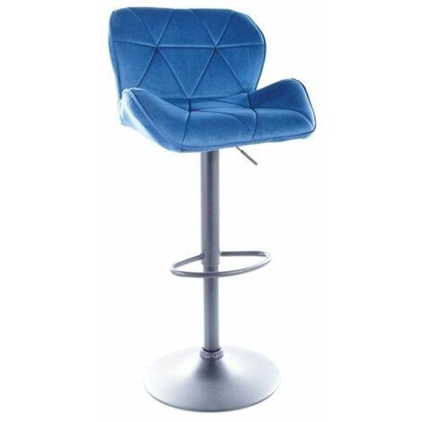 Tabouret de bar en velours - L 51 x P 36 x H 83 cm - Bleu - Livraison gratuite