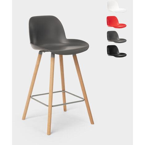Tabouret de bar et cuisine avec pieds en bois design eiffel BURJ 65 cm