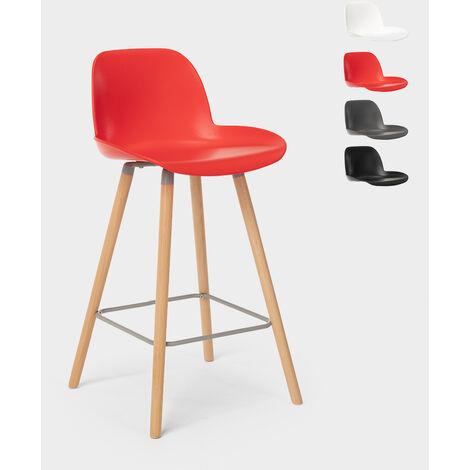 Tabouret de bar et cuisine avec pieds en bois design eiffel Burj 65 cm | Rouge