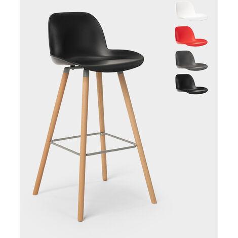 Tabouret de bar et de cuisine design en bois Burj 75 cm | Noir