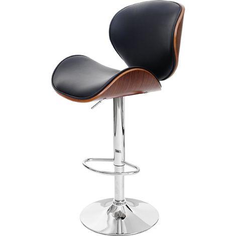 Tabouret de bar Foxrock, chaise de bar, bois courbé, design rétro ~ gris, similicuir noir