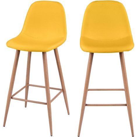 tabouret de bar fredrik jaune lot de 2. Black Bedroom Furniture Sets. Home Design Ideas