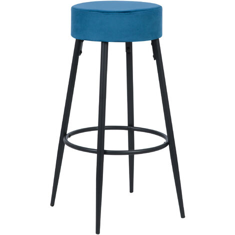 Tabouret de bar Gustave en velours bleu 77 cm - Bleu