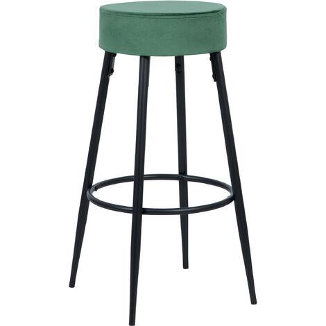 Tabouret de bar Gustave en velours vert 77 cm - Vert