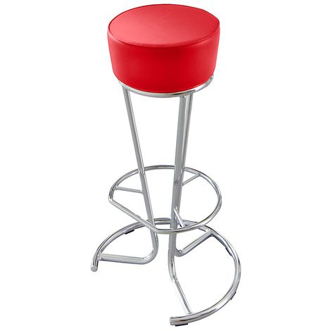 Tabouret de bar - habillage similicuir - rouge