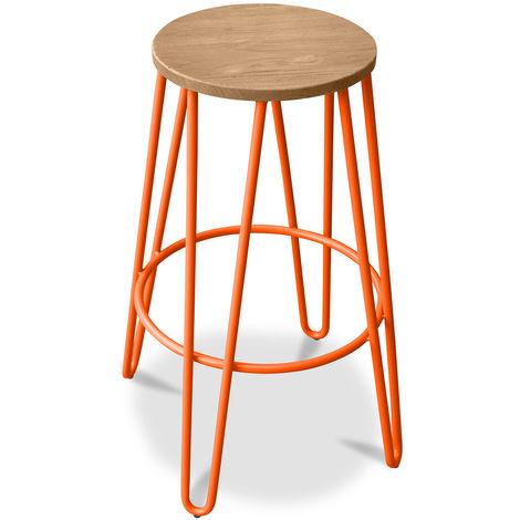 Tabouret de bar hairpin 66 cm - Bois clair et métal Orange