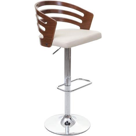 Tabouret de bar HHG-036, chaise de comptoir, design rétro, bois de proue, aspect noix, similicuir