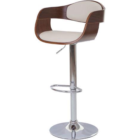 Tabouret de bar HHG-048, chaise de bar, bois courbé, design rétro ~ gris, similicuir couleur crème