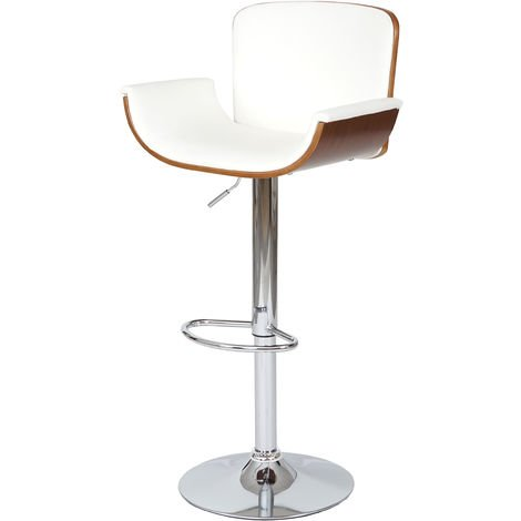 Tabouret de bar HHG-098, similicuir, aspect noix, rétro ~ blanc
