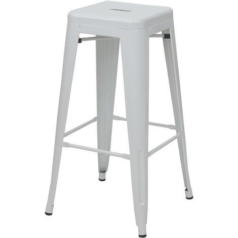 Tabouret de bar HHG-844, chaise de comptoir, métal, empilable, design industriel ~ blanc