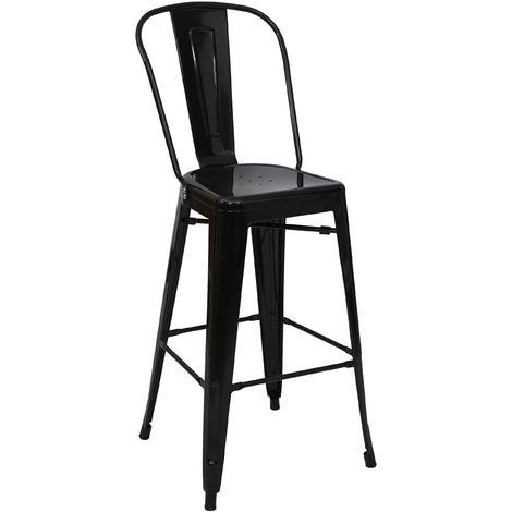 Tabouret de bar HHG-866, chaise de comptoir avec dossier, métal, design industriel