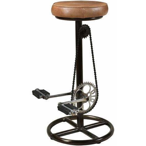 Tabouret de bar indus Gaya en cuir 73 cm - Marron