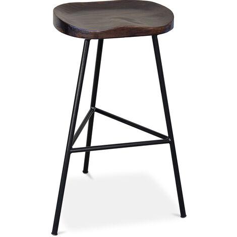Tabouret de bar Industriel 73 cm - Kangee Noir