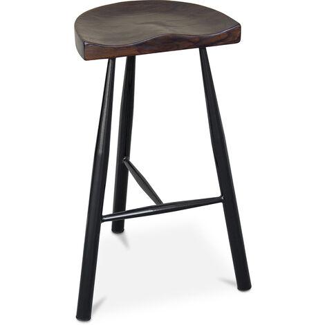 Tabouret de bar Industriel 75 cm - Halona Noir