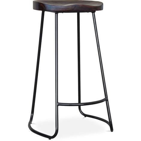 Tabouret de bar Industriel 76cm Aiyana - Bois foncé et métal Noir