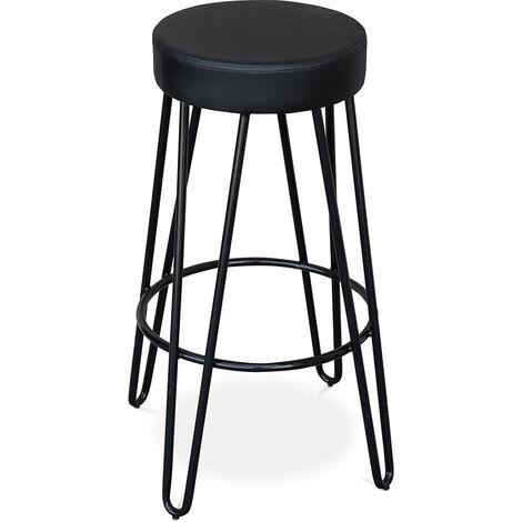 Tabouret de bar Industriel 80 cm - Elan Noir