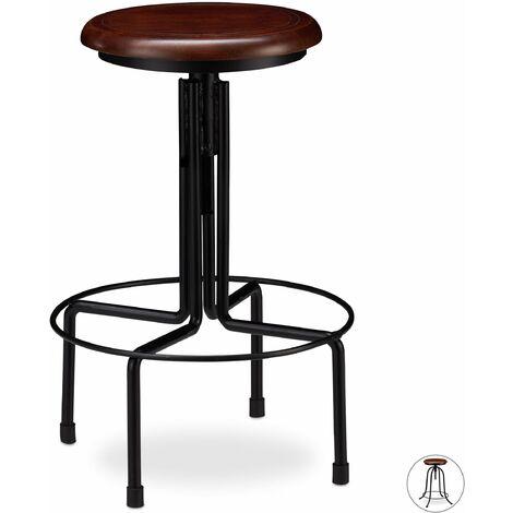 Tabouret de bar industriel chaise ronde hauteur réglable jusqu à 65 cm noir marron fer bois - Bois
