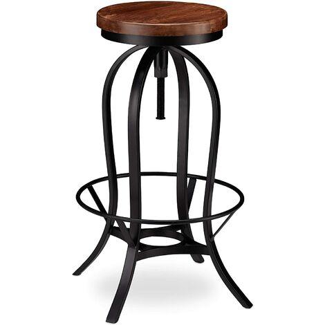 Tabouret de bar industriel design industriel pivotant chaise ronde fer et bois - Bois