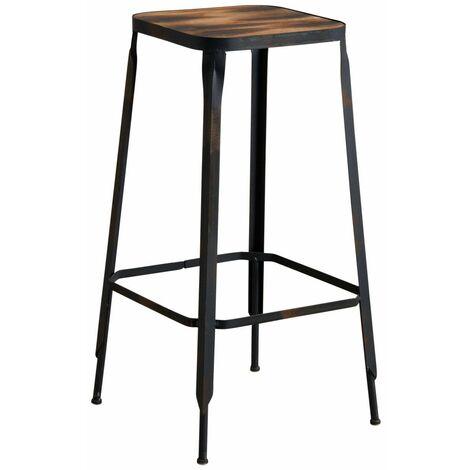 Tabouret de bar industriel en métal et bois